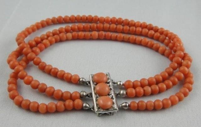 Natural Red Coral Bead 14K Necklace