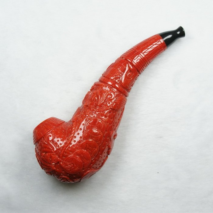Natural Red Coral Carved Pipe