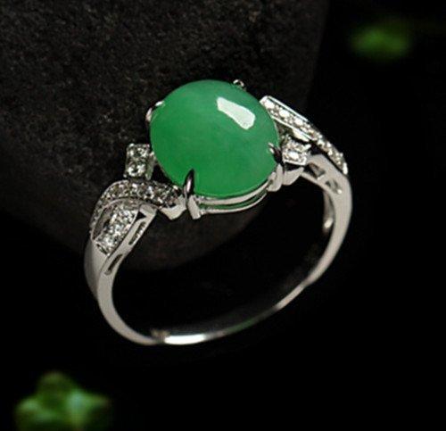 18K Diamond Natural Jadeite Ring