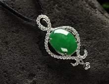 18K Certified Icy Jadeite Diamond Pendant