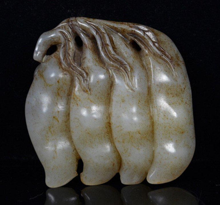 Old White Nephrite Jade Pendant