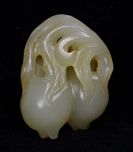 Old White Nephrite Jade Peach Pendant