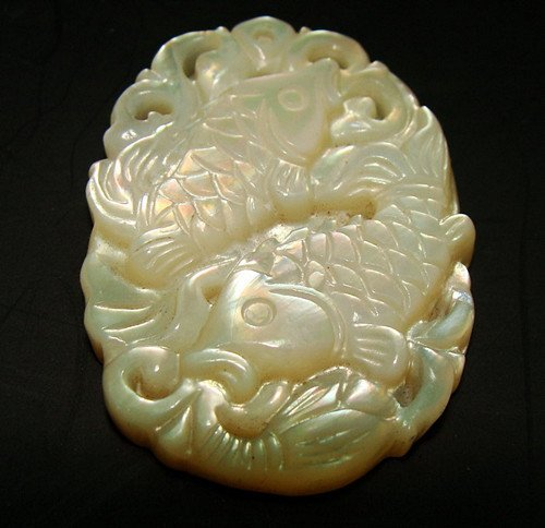 Old Mother of Pear Carved Pendant
