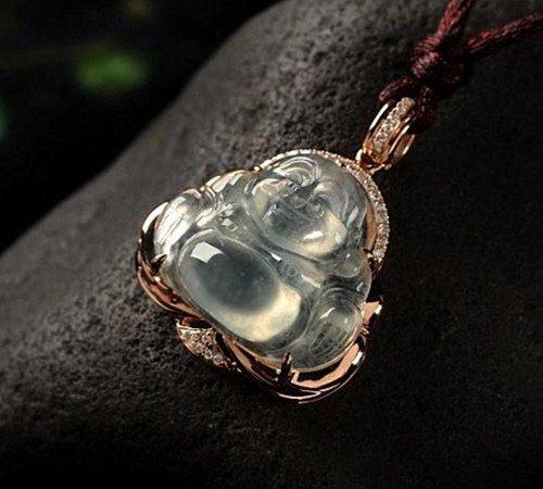 Chinese Certified 18K Diamond Jadeite Pendant