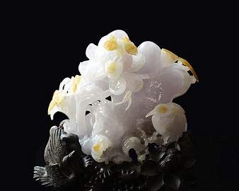 Extremely Fine Chinese  Icy Jadeite Carving