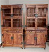 Pair of Vintage Chinese Hainan Huanghuali Cabinets