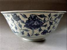Large Antique B&W Porcelain Bowl , Ming Dynasty