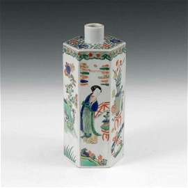 Fine Old Chinese famille Verti Wucai Hexagonal Vase