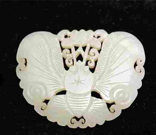 Fine Old Chinese Nephrite Jade Butterfly Pendant