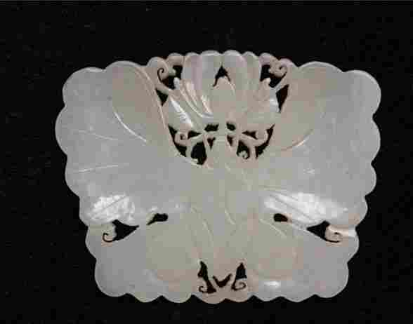 Fine Old Chinese Nephrite Jade Carved Butterfly Pendant