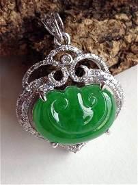 Certified Chinese 18K Diamond Icy Jadeite Pendant