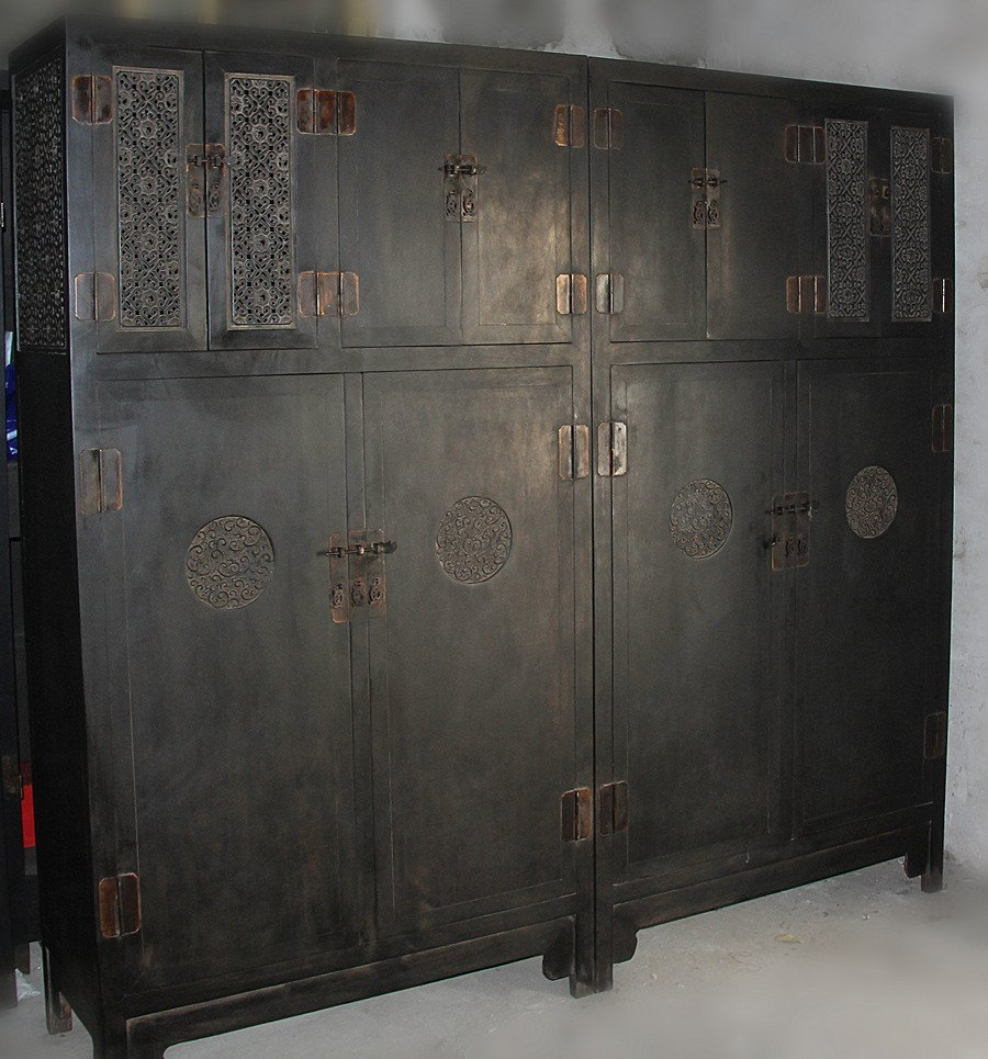Pair Antique Chinese Zitan Wood Wardrobe