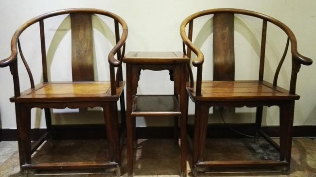 Fine Rare Antique Chinese Huanghuali Wood Chair Set