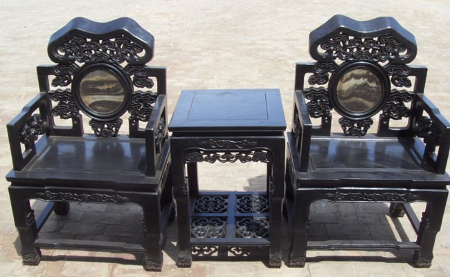 Set of Old Chinese Zitan Wood Chair and Tea Table