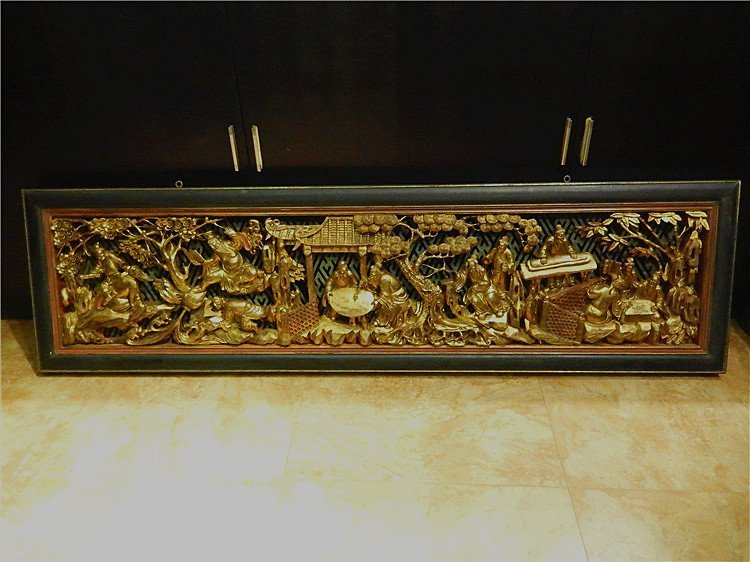 Antique Chinese Gilt Hardwood Carved Panel