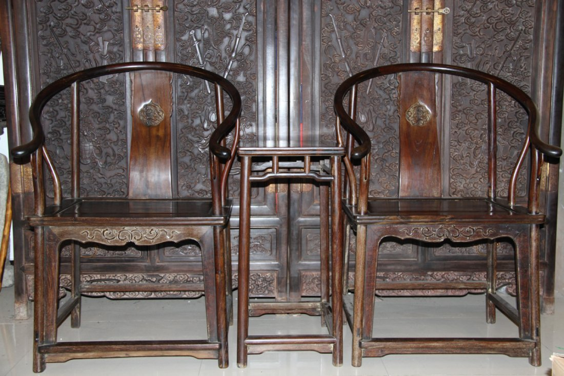 Set of Old Chinese IndianZitan Wood Chair and Tea Table