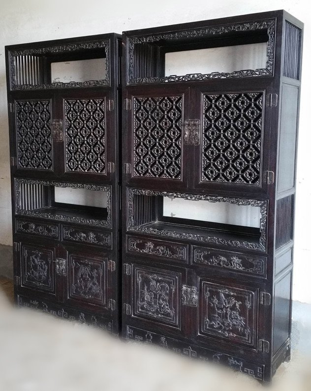 Pair Antique Chinese IndianZitan Wood Carved Book Case