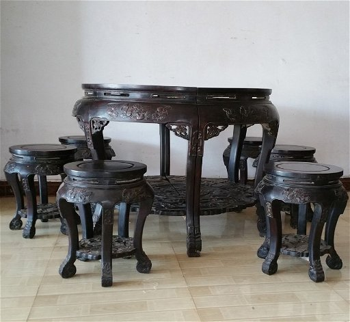 Set Of Antique Chinese Indian Zitan Wood Dining Table