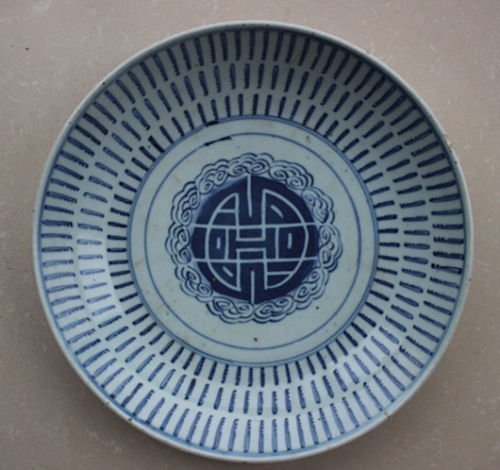 Authentic Large Antique Chinese Blue and White Plate