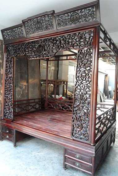 Exquisite Antique Chinese Rosewood Carved Canopy Bed