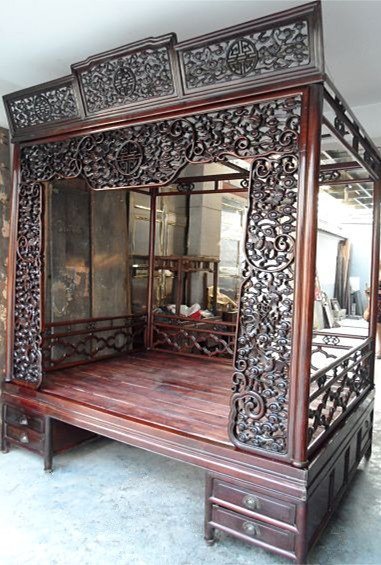 Antique Bed: Exquisite Antique Chinese Rosewood Carved Canopy Bed