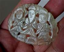 Fine Rare Old Chinese White Jade Carved Pendant