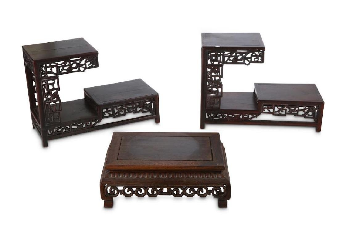 THREE CHINESE WOOD STANDS. Late Qing Dynasty.