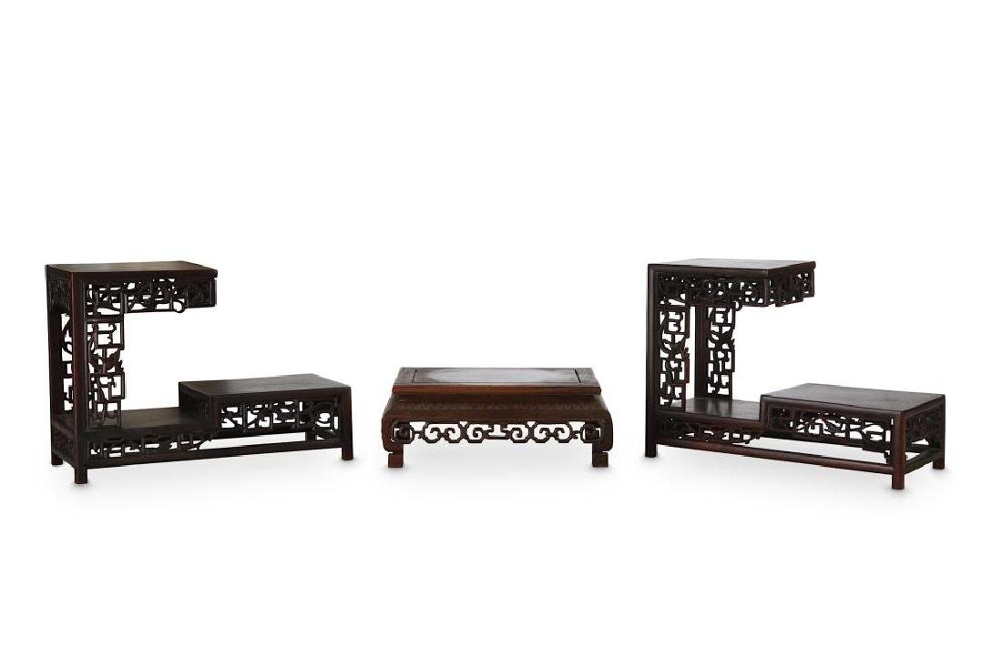 THREE CHINESE WOOD STANDS. Late Qing Dynasty. - 2