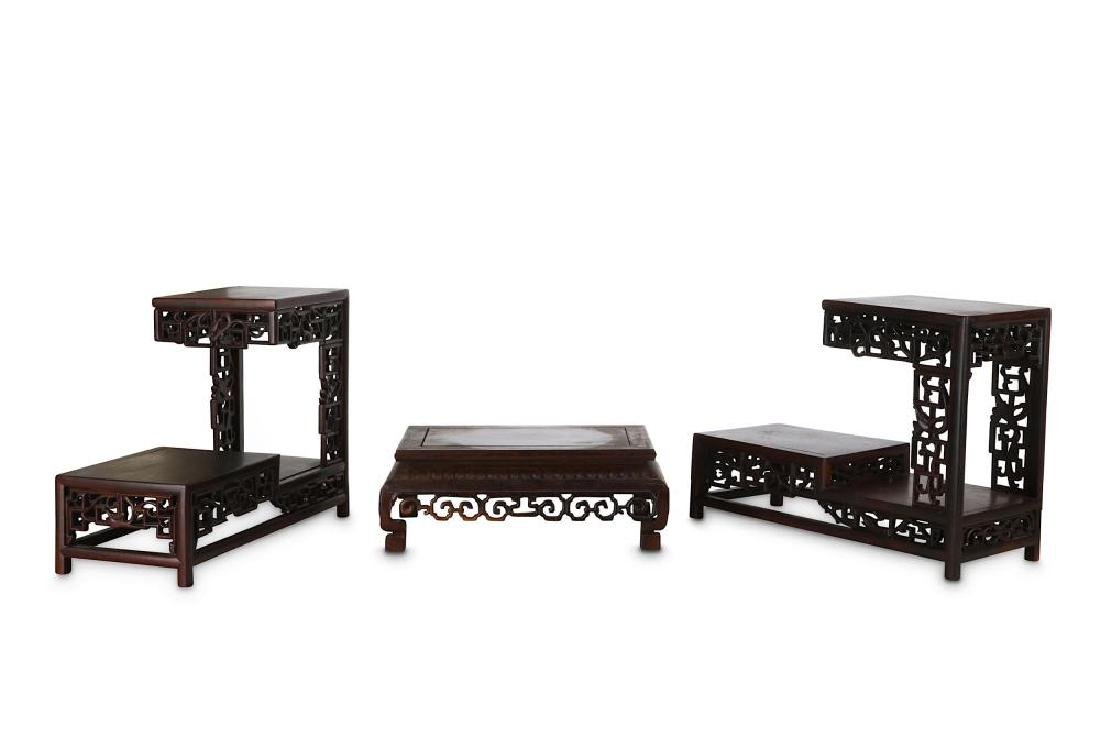 THREE CHINESE WOOD STANDS. Late Qing Dynasty. - 3