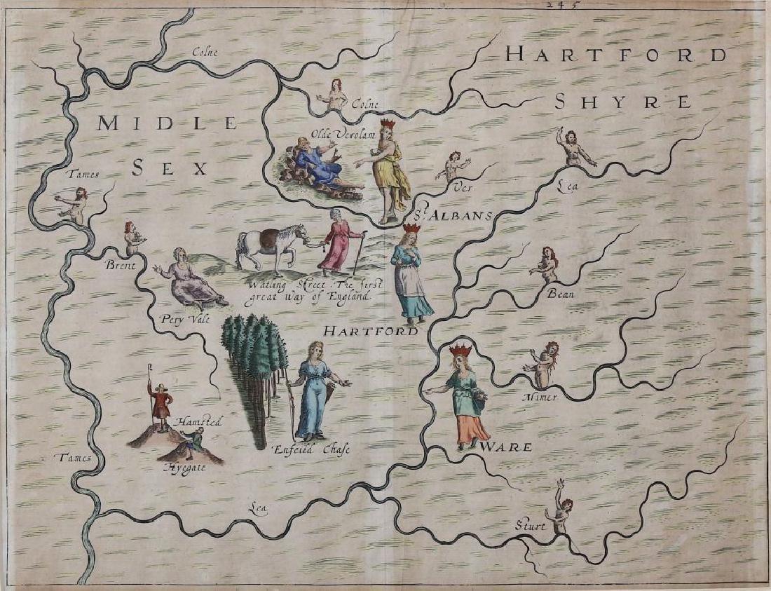 Drayton (Michael) Hartfordshyre, engraved map, to - 3
