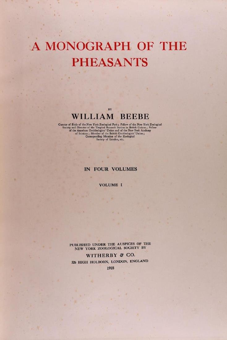 Beebe (William) A Monograph of the Pheasants, 4 vol., - 3