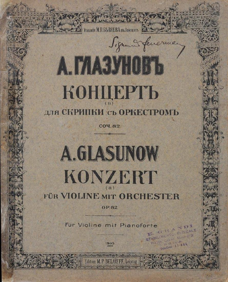Signed Music Scores.- Sigmund Feuermann Group of