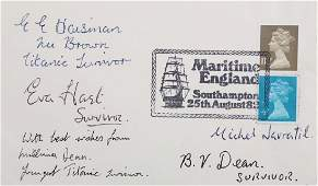 Titanic Interest.- First Day Cover signed by five