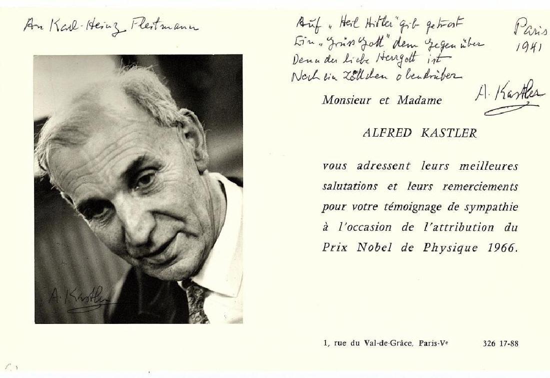 Kastler (Alfred) Printed invitation card to a Nobel
