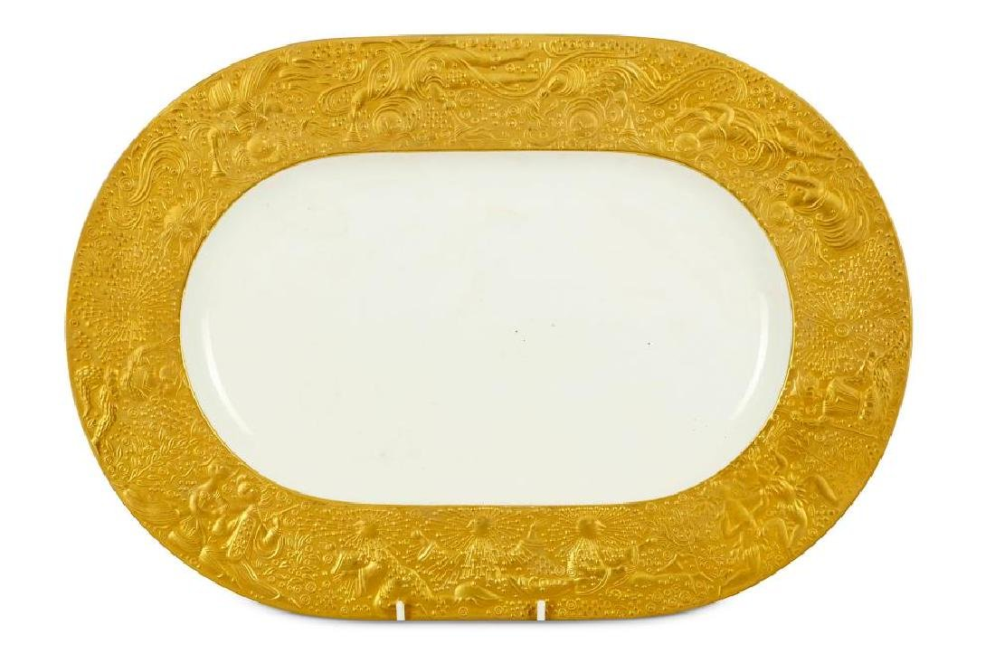 An oval Rosenthal porcelain and parcel gilt dish 'The