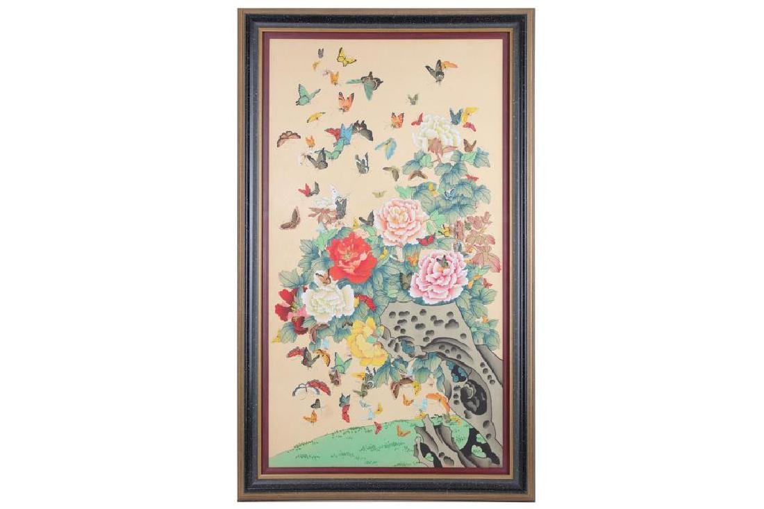 An identical pair of Chinese paintings on silk