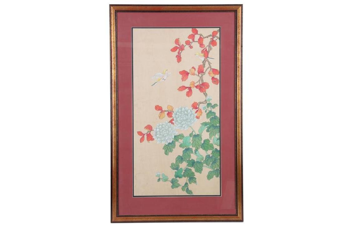 A Chinese painting on silk and another