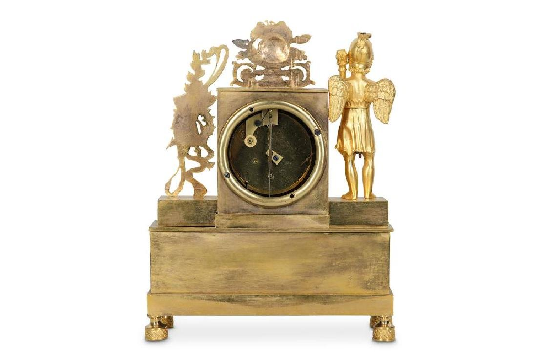A 19TH CENTURY FRENCH EMPIRE STYLE GILT BRONZE MANTEL - 3