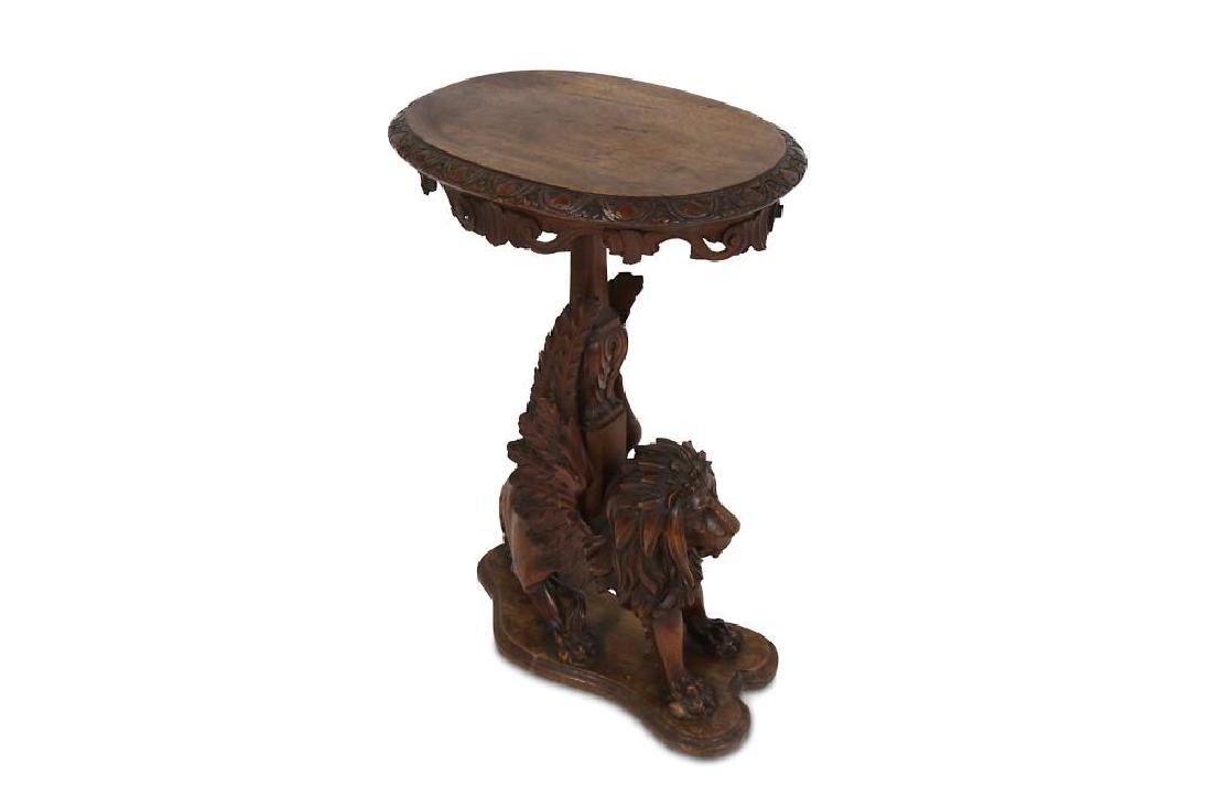 A 19TH CENTURY CARVED OAK OCCASIONAL TABLE MODELLED AS - 2