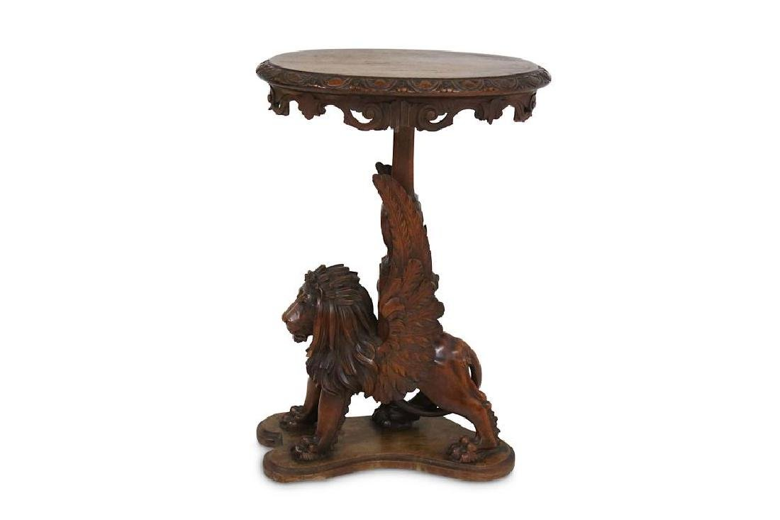 A 19TH CENTURY CARVED OAK OCCASIONAL TABLE MODELLED AS - 6