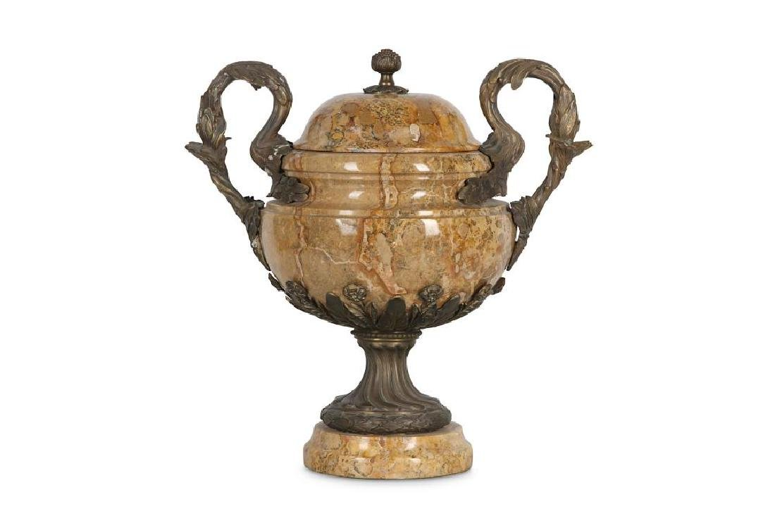 A LOUIS XV STYLE MARBLE AND BRONZE URN AND COVER