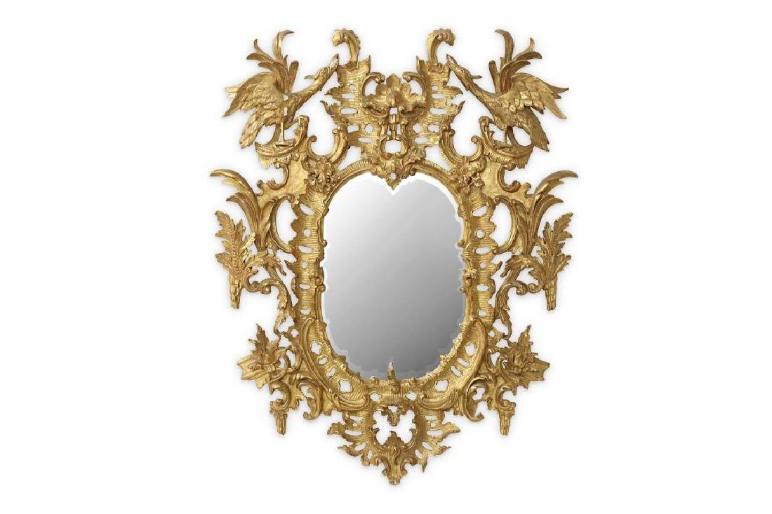 AN 18TH CENTURY STYLE ROCOCO GILTWOOD MIRROR