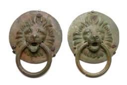 A PAIR OF ROMAN BRONZE LION COFFER HANDLES Circa 2nd -