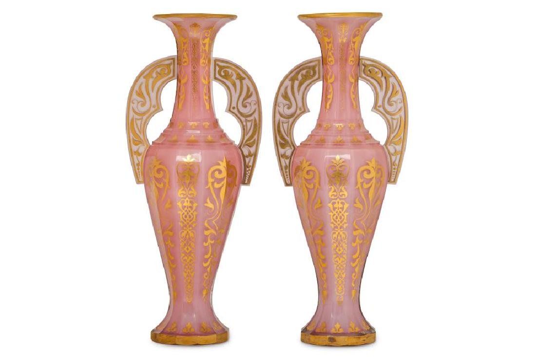 A PAIR OF BOHEMIAN PINK OPALESCENT GLASS 'ALHAMBRA'