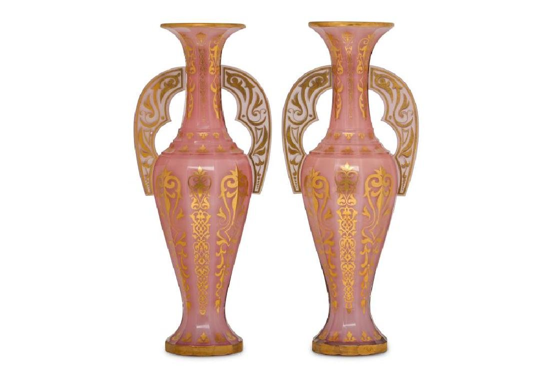 A PAIR OF BOHEMIAN PINK OPALESCENT GLASS 'ALHAMBRA' - 2