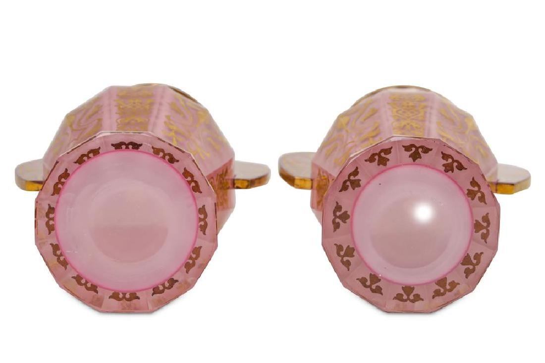 A PAIR OF BOHEMIAN PINK OPALESCENT GLASS 'ALHAMBRA' - 3