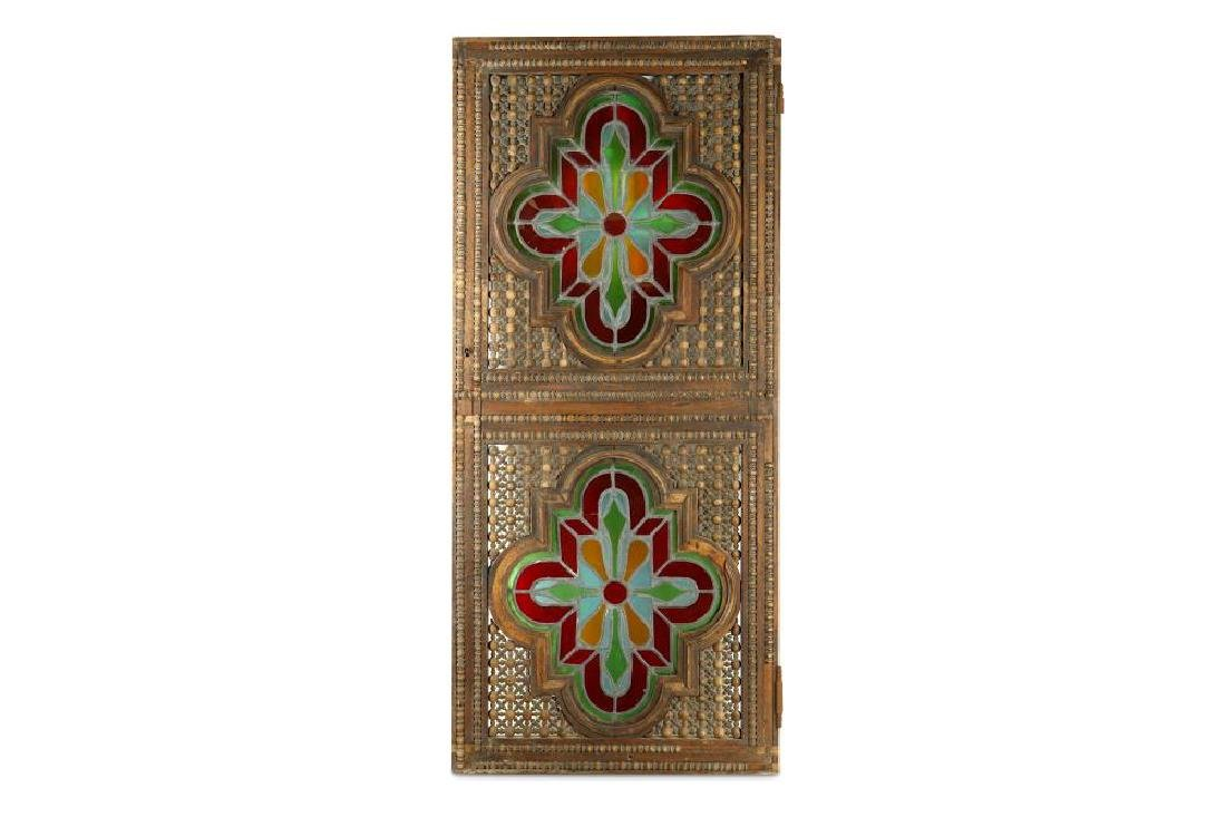 A STAINED GLASS WINDOW SHUTTER WITH WOODEN FRAME - 2