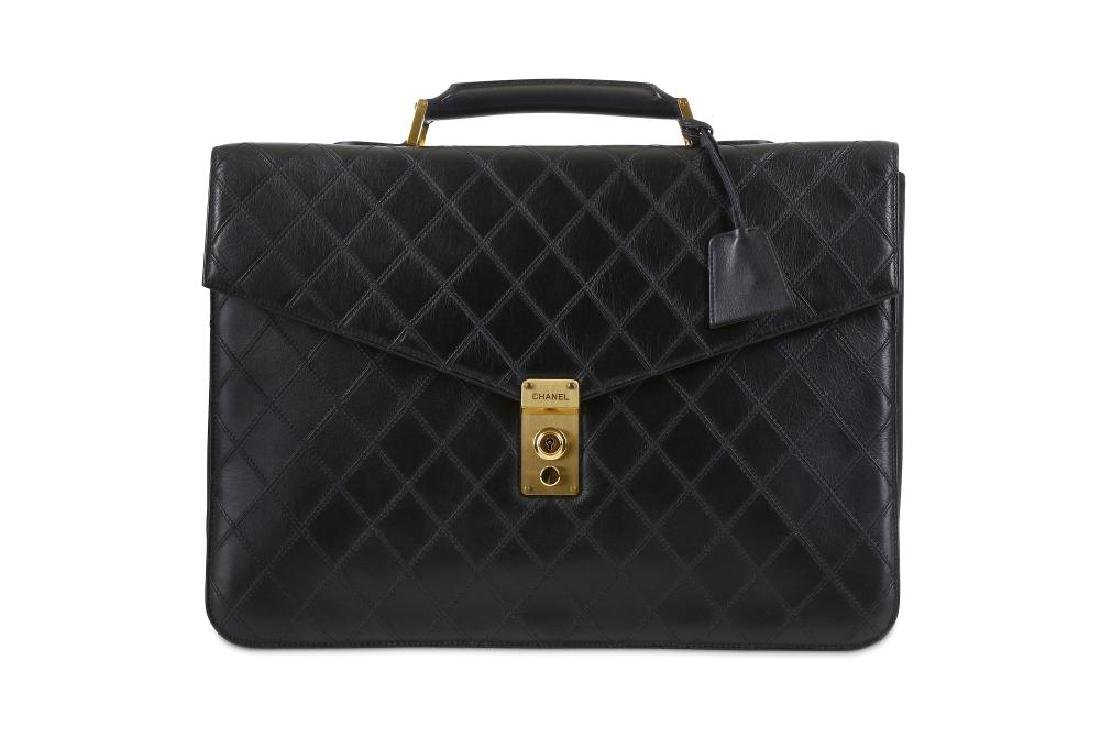 Chanel Black Briefcase Bag, c. 1989-91, quilted leather