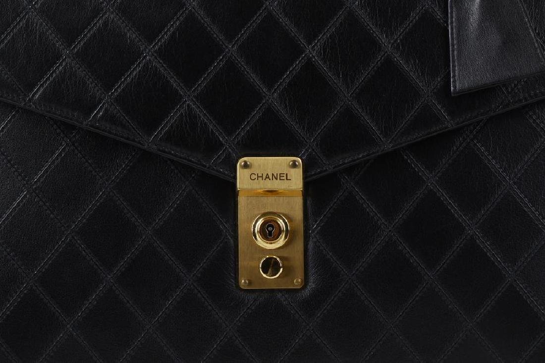 Chanel Black Briefcase Bag, c. 1989-91, quilted leather - 3