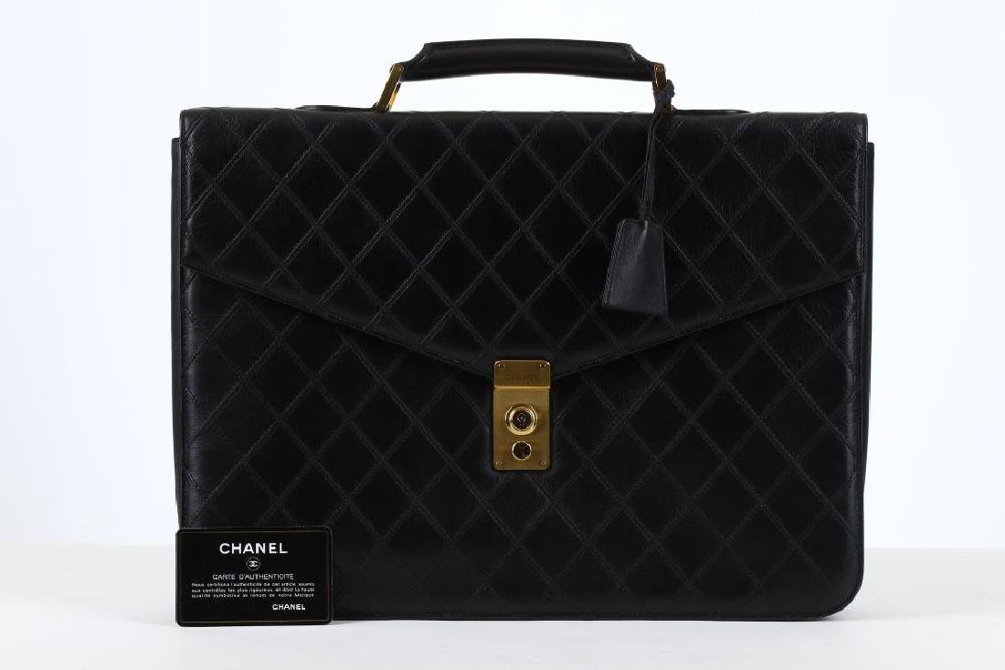 Chanel Black Briefcase Bag, c. 1989-91, quilted leather - 7